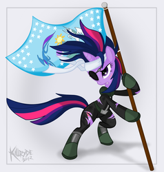 Size: 1664x1750 | Tagged: safe, artist:killryde, twilight sparkle, pony, unicorn, adobe fireworks, bandage, bipedal, bipedal leaning, clothes, equestrian flag, female, flag, future twilight, leaning, mare, solo, torn clothes