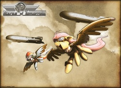Size: 1650x1200 | Tagged: safe, artist:lionheartcartoon, fluttershy, rainbow dash, pegasus, pony, airship, artificial wings, augmented, clothes, duo, female, flying, goggles, mare, mechanical wing, photoshop, steampunk, wings, zeppelin