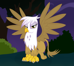 Size: 2000x1800 | Tagged: artist:grumblepluck, female, gilda, griffon, night, safe, solo, tree, wings