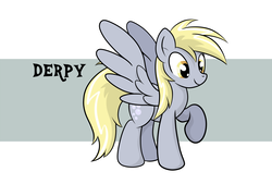 Size: 2000x1350 | Tagged: artist:grumblepluck, derpy hooves, female, happy, mare, pegasus, pony, raised hoof, safe, solo, underp