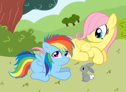 Size: 1238x904 | Tagged: artist:grumblepluck, female, filly, fluttershy, foal, pegasus, pony, prone, rabbit, rainbow dash, safe, younger