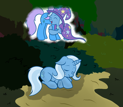 Size: 1600x1400 | Tagged: artist:grumblepluck, crying, eyes closed, female, filly, forest, hug, mare, memory, pony, prone, sad, safe, trixie, unicorn, unknown pony, younger