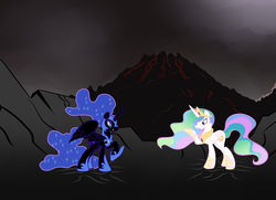 Size: 4676x3384 | Tagged: absurd res, alicorn, artist:grumblepluck, cracks, female, mare, nightmare moon, pony, princess celestia, safe, volcano