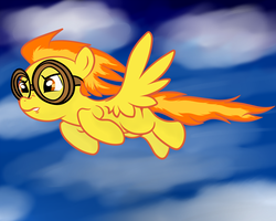 Size: 1250x1000 | Tagged: artist:grumblepluck, cloud, female, flying, goggles, mare, pegasus, pony, safe, sky, solo, spitfire
