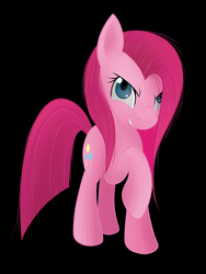 Size: 994x1320 | Tagged: dead source, safe, artist:grumblepluck, pinkie pie, earth pony, pony, angry, black background, female, mare, photoshop, pinkamena diane pie, raised hoof, simple background, solo