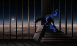 Size: 1600x951 | Tagged: safe, artist:cosmicunicorn, nightmare moon, alicorn, pony, bad end, cage, eclipse, ethereal mane, featured image, female, glowing eyes, long hair, long mane, long tail, mare, mountain, photoshop, sitting, sky, solar eclipse, solo, spread wings, stairs, starry mane, stars, throne