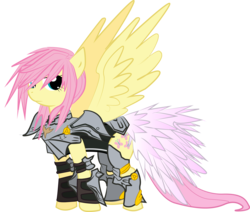 Size: 2474x2095 | Tagged: safe, artist:halotheme, fluttershy, pegasus, pony, adobe imageready, alternate hairstyle, armor, crossover, female, final fantasy, final fantasy xiii-2, flutterbadass, high res, lightning farron, mare, simple background, solo, transparent background