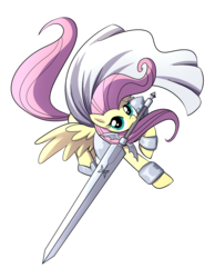 Size: 1549x2000 | Tagged: artist:madmax, claymore, clothes, costume, crossover, fluttershy, mouth hold, safe, simple background, solo, sword, weapon