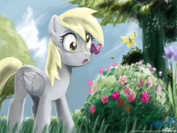 Size: 1200x900 | Tagged: artist:johnjoseco, bee, butterfly, derpy hooves, female, flower, grass, mare, pegasus, pony, safe, solo, tree