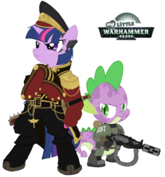 Size: 900x960 | Tagged: artist:sh2otingstar, chain sword, ciaphas cain, commissar, crossover, imperial guard, jurgen, melta, safe, scar, simple background, spike, twilight sparkle, warhammer 40k