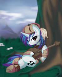 Size: 1350x1700 | Tagged: safe, artist:bamboodog, dj pon-3, vinyl scratch, pony, unicorn, clothes, commission, female, mare, musical instrument, on back, solo, tree