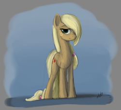 Size: 776x702 | Tagged: safe, artist:zlack3r, applejack, earth pony, pony, alternate hairstyle, female, gimp, hair over one eye, looking at you, mare, sketch, solo
