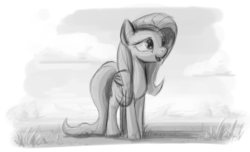 Size: 1110x676 | Tagged: safe, artist:zlack3r, fluttershy, pegasus, pony, female, gimp, grayscale, happy, mare, monochrome, sketch, solo
