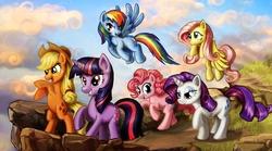 Size: 2160x1200 | Tagged: safe, artist:harwick, applejack, fluttershy, pinkie pie, rainbow dash, rarity, twilight sparkle, earth pony, pegasus, pony, unicorn, cloud, female, flying, mane six, mare, photoshop, rearing, unicorn twilight, wallpaper