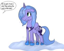 Size: 788x630 | Tagged: safe, artist:diab0lical, princess luna, alicorn, pony, female, mare, s1 luna, sad, simple background, solo, wet mane