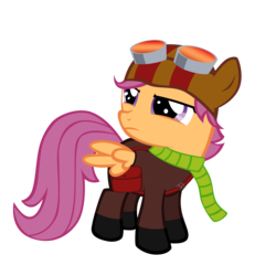 Size: 5000x5000 | Tagged: absurd res, artist:my-little-throwaway, clothes, crossover, female, filly, goggles, pegasus, pony, psychonauts, razputin, safe, scarf, scootaloo, simple background, solo, transparent background