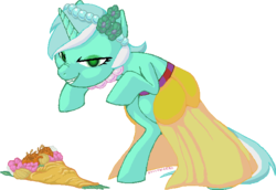 Size: 672x462 | Tagged: artist:hollowzero, bouquet, bridesmaid, clothes, creepy, dress, female, flower, lyra heartstrings, mare, ms paint, pony, possessed, safe, simple background, solo, transparent background, unicorn