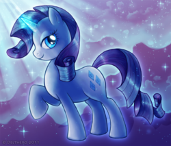 Size: 800x680 | Tagged: artist:delthero, crepuscular rays, female, magic, mare, pony, raised hoof, rarity, safe, solo, unicorn