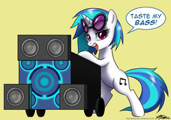 Size: 1200x846 | Tagged: artist:johnjoseco, bass cannon, bipedal, bipedal leaning, dj pon-3, female, get, index get, leaning, mare, pony, safe, simple background, solo, sunglasses, unicorn, vinyl scratch