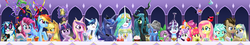 Size: 2500x445   Tagged: safe, artist:saturnspace, apple bloom, applejack, derpy hooves, dj pon-3, doctor whooves, fluttershy, gummy, lyra heartstrings, pinkie pie, princess cadance, princess celestia, princess luna, queen chrysalis, rainbow dash, rarity, scootaloo, shining armor, spike, sweetie belle, time turner, trixie, twilight sparkle, vinyl scratch, alicorn, changeling, changeling queen, chicken, dragon, earth pony, pegasus, pony, unicorn, angry birds, big crown thingy, confetti, crossover, cutie mark crusaders, element of magic, everypony, female, filly, fine art parody, hat, jewelry, male, mane seven, mane six, mare, nom, paper hat, parody, portal gun, record, regalia, shiningcadance, shipping, slime cuffs, stallion, straight, the last supper