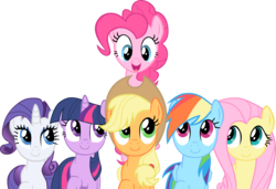 Size: 2398x1640 | Tagged: safe, artist:exe2001, applejack, fluttershy, pinkie pie, rainbow dash, rarity, twilight sparkle, earth pony, pegasus, pony, unicorn, a friend in deed, .svg available, female, mane six, mare, photoshop, simple background, smile song, smiling, transparent background, unicorn twilight, vector
