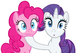 Size: 4354x3058 | Tagged: safe, artist:exe2001, pinkie pie, rarity, earth pony, pony, unicorn, putting your hoof down, .svg available, female, inkscape, mare, reaction image, shocked, simple background, stunned, transparent background, vector
