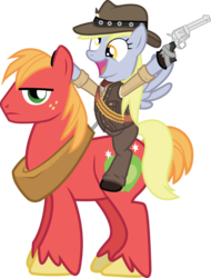 Size: 1378x1815 | Tagged: safe, artist:smashinator, big macintosh, derpy hooves, earth pony, pegasus, pony, clothes, colt single action army, crossover, cute, derpabetes, female, frown, glare, gun, hat, hoof hold, looking at you, male, mare, open mouth, ponies riding ponies, red dead redemption, revolver, riding, simple background, smiling, stallion, transparent background, unamused, vector, weapon