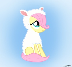 Size: 1510x1413 | Tagged: safe, artist:walliscolours, fluttershy, lamb, pegasus, pony, sheep, clothes, costume, female, filly, fluttersheep, foal, gradient background, photoshop, sitting, solo