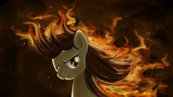 Size: 1096x614   Tagged: safe, artist:iraecoal, wild fire, pegasus, pony, female, fire, looking at you, mane of fire, mare, solo