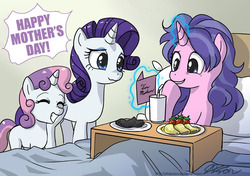 Size: 1000x704   Tagged: safe, artist:johnjoseco, cookie crumbles, rarity, sweetie belle, pony, unicorn, baked bads, belle sisters, breakfast, breakfast in bed, burned, cooking, female, filly, food, heartwarming, mare, mother's day, sweetie belle can't cook, sweetie fail