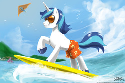 Size: 1500x1000 | Tagged: artist:johnjoseco, clothes, female, hang gliding, male, mare, ocean, pony, raised hoof, safe, shining armor, stallion, sunglasses, surfing, swimming trunks, swimsuit, topless, trixie, unicorn