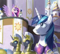 Size: 1100x990 | Tagged: safe, artist:johnjoseco, princess cadance, shining armor, alicorn, pony, unicorn, armor, canterlot, female, male, mare, parade, royal guard, shiningcadance, shipping, spread wings, stallion, straight