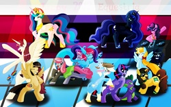 Size: 1200x750   Tagged: safe, artist:emeraldpony, pinkie pie, princess celestia, princess luna, rainbow dash, spike, twilight sparkle, wild fire, oc, oc:cteno, oc:fausticorn, oc:madmax, alicorn, dragon, earth pony, pegasus, pony, unicorn, alicorn oc, female, lauren faust, male, mare, party, turntable