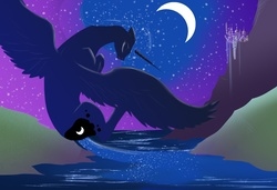 Size: 1500x1024   Tagged: safe, artist:silfoe, princess luna, alicorn, pony, beautiful, canterlot, crescent moon, eyes closed, female, flying, mare, moon, night, river, solo, stars, water