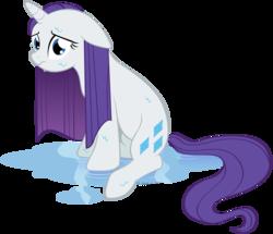 Size: 989x851 | Tagged: safe, artist:littlehybridshila, rarity, pony, unicorn, female, floppy ears, mare, sad, simple background, sitting, solo, transparent background, wet, wet mane, wet mane rarity