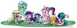 Size: 2047x759 | Tagged: safe, artist:kiyoshiii, derpy hooves, dj pon-3, lyra heartstrings, minuette, princess cadance, smarty pants, spitfire, twilight sparkle, vinyl scratch, alicorn, pegasus, pony, unicorn, brush, female, filly, filly derpy, filly lyra, filly spitfire, filly twilight sparkle, filly vinyl scratch, foal, foalsitter, happy, mare, muffin, toy airplane, younger
