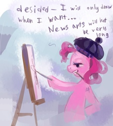 Size: 2586x2874 | Tagged: safe, artist:holivi, pinkie pie, earth pony, pony, easel, female, hat, high res, mare, mouth hold, painting, profile, solo