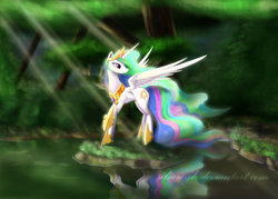 Size: 1529x1095   Tagged: safe, artist:zymonasyh, princess celestia, alicorn, pony, beautiful, crepuscular rays, crown, cute, ethereal mane, featured image, female, forest, grass, hoof shoes, jewelry, lidded eyes, looking back, majestic, mare, nature, necklace, praise the sun, pretty, raised hoof, reflection, regalia, smiling, solo, spread wings, water, wings