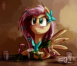 Size: 760x650 | Tagged: safe, artist:whitediamonds, fluttershy, pegasus, pony, abstract background, alcohol, angry, blushing, clothes, dress, drunk, drunkershy, female, flower, flower in hair, gala dress, glass, mare, shot glass, solo