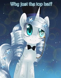 Size: 700x895 | Tagged: dead source, safe, artist:loyaldis, princess silver swirl, pony, unicorn, bowtie, female, g2, g2 to g4, generation leap, hat, heart eyes, mare, monocle, smiling, solo, standing, text, top hat, wingding eyes