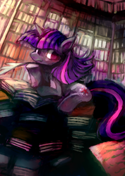 Size: 1240x1753 | Tagged: dead source, safe, artist:ouroporos, twilight sparkle, pony, unicorn, book, female, library, mare, pile, quill, sitting, solo