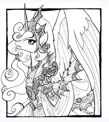 Size: 1968x2200 | Tagged: safe, artist:nastylady, princess celestia, alicorn, pony, clothes, female, lineart, mare, monochrome, sketch, solo, traditional art