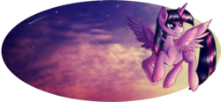 Size: 1024x476 | Tagged: alicorn, artist:rizcifra, female, flying, hilarious in hindsight, it begins, mare, pony, safe, shooting star, smiling, solo, twilight sparkle, twilight sparkle (alicorn), wings