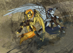 Size: 1372x1000 | Tagged: safe, artist:nastylady, soarin', spitfire, pegasus, pony, abstract background, bomber jacket, clothes, duo, female, flying, goggles, jacket, male, mare, stallion, steampunk