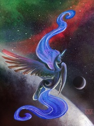 Size: 800x1078 | Tagged: safe, artist:cosmicunicorn, princess luna, alicorn, pony, female, flying, long hair, long mane, long tail, mare, moon, nebula, pretty, rear view, solo, space, stars