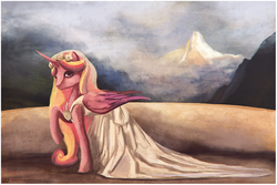 Size: 1109x742 | Tagged: safe, artist:cosmicunicorn, princess cadance, alicorn, pony, clothes, dress, female, mare, mountain, raised hoof, solo