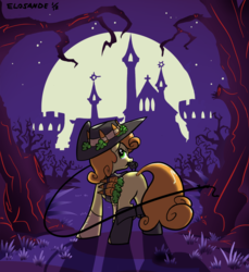 Size: 914x1000 | Tagged: safe, artist:elosande, carrot top, golden harvest, earth pony, pony, backlighting, carrot, castle, castlevania, crossover, female, food, forest, hat, looking at you, looking back, mare, mouth hold, night, rear view, silhouette, solo, weapon, whip