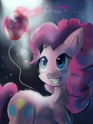 Size: 480x640 | Tagged: safe, artist:terrac0tta, pinkie pie, earth pony, pony, balloon, female, happy, mare, smiling, solo