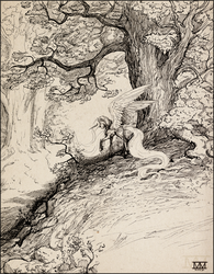 Size: 1100x1410 | Tagged: safe, artist:cosmicunicorn, princess celestia, alicorn, pony, female, forest, grayscale, gustave doré, impossibly long hair, impossibly long tail, long hair, long mane, long tail, mare, monochrome, scenery, sketch, solo, traditional art, tree