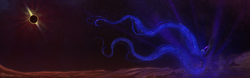 Size: 2500x781 | Tagged: safe, artist:cosmicunicorn, nightmare moon, alicorn, pony, chromatic aberration, earth, eclipse, escape, female, impossibly long hair, impossibly long tail, long hair, long mane, long tail, lunar eclipse, mare, moon, solo, space, stars